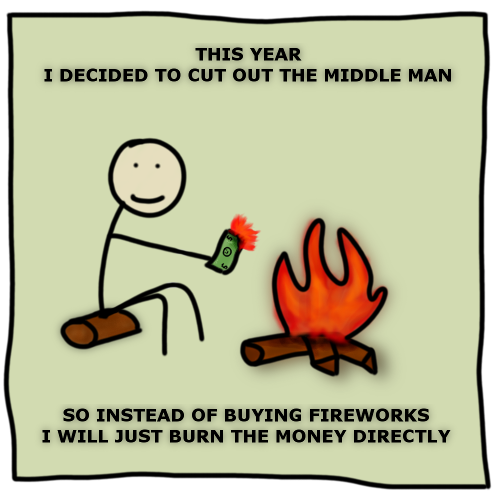 man burns money