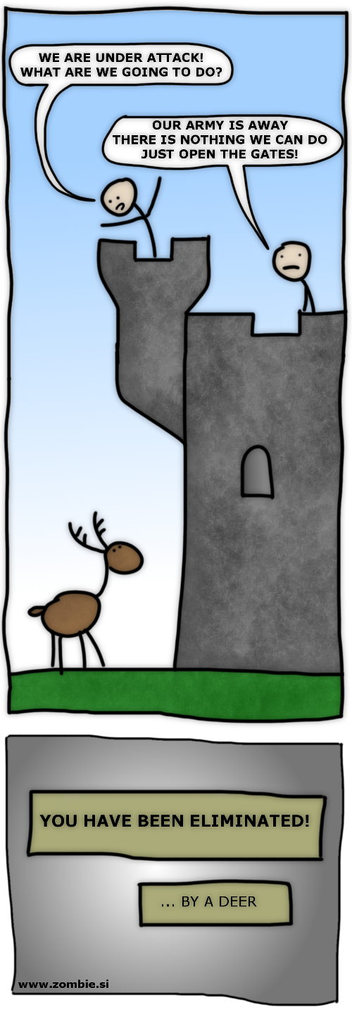 The deer of doom attacks a castle