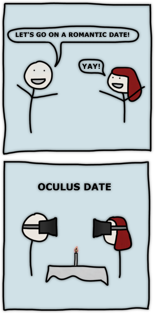 A couple goes to a romantic date with oculus