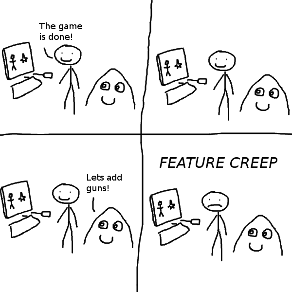 A comic about feature creep in gamedev.